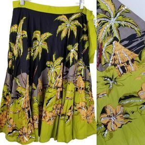 Hawaiian Skirt Tropical Huts Silver Sequin 8 FULL
